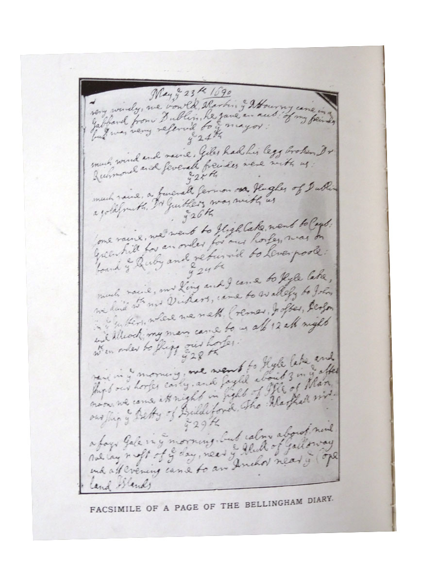 Facsimile of page from Col Thomas Bellingham's 17th-century diary