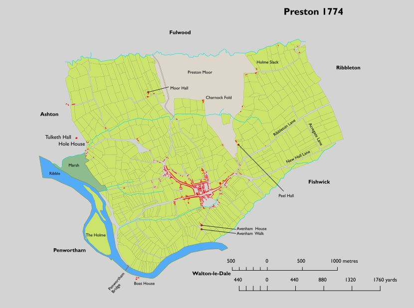 Plan of Preston Lancashire in 1774
