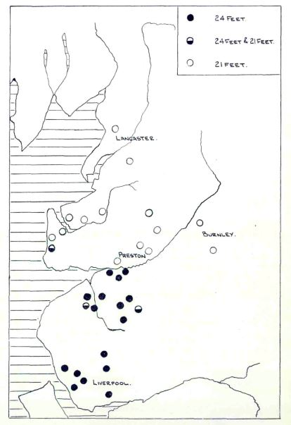 Smith's map showing the distribution of land measures north and south of the Ribble