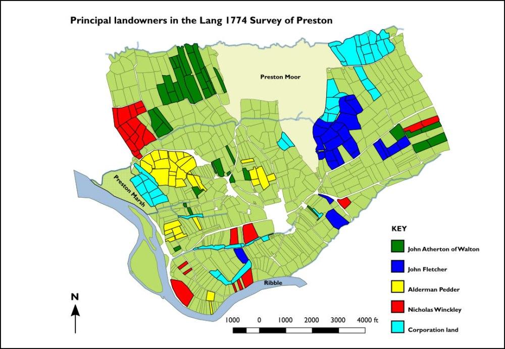 Plan showing principal landowners in Lang survey