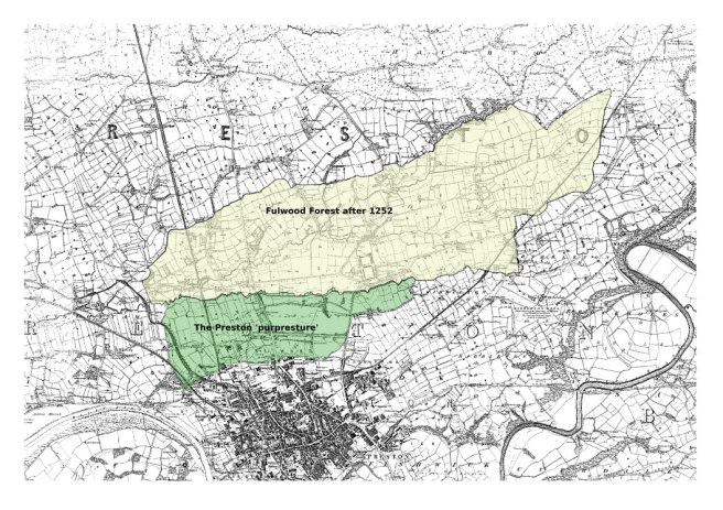 Map showing the areas of Fulwood Forest and the Preston 'purpresture' superimposed on the six-inch first edition of the Ordnance Survey