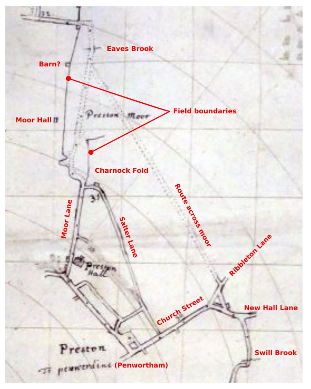 Section of 1660s strip map through Preston
