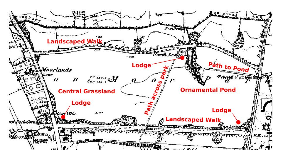 Map of Moor Park, Preston, in the 1840s