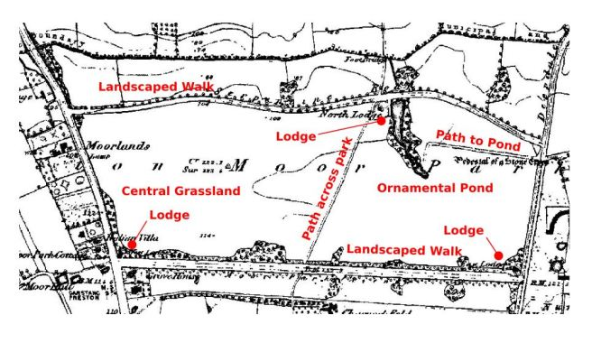 Map of Moor Park, Preston, in the 1840s