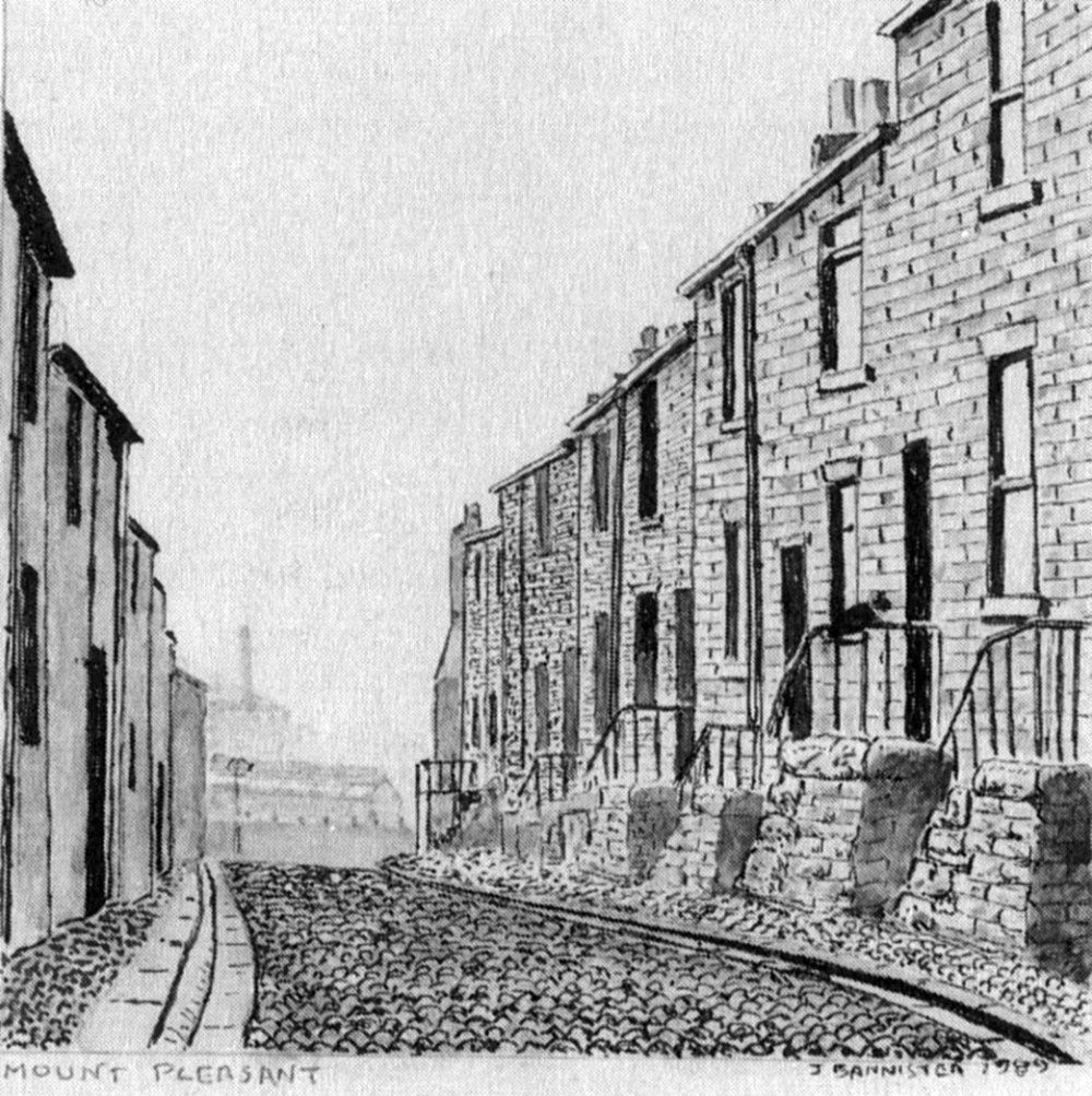Drawing of handloom weavers' cottages in Mount Pleasant Preston