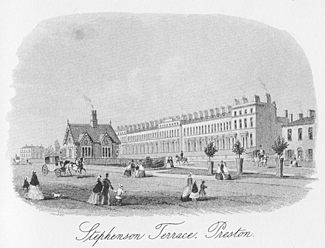 Stephenson Terrace Preston Lancashire mid-19th century drawing