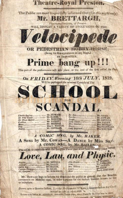 Preston Theatre Royal playbill 1819