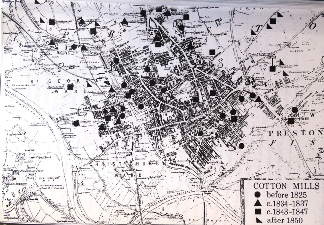 Map showing position and date of cotton mills in 19th-century Preston