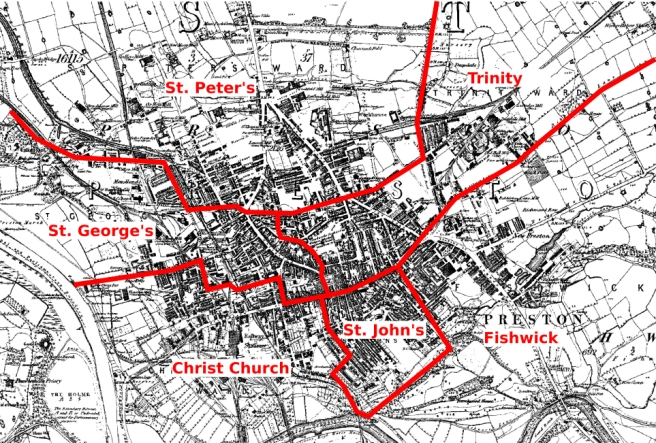 Map of municipal wards in Preston in 1835