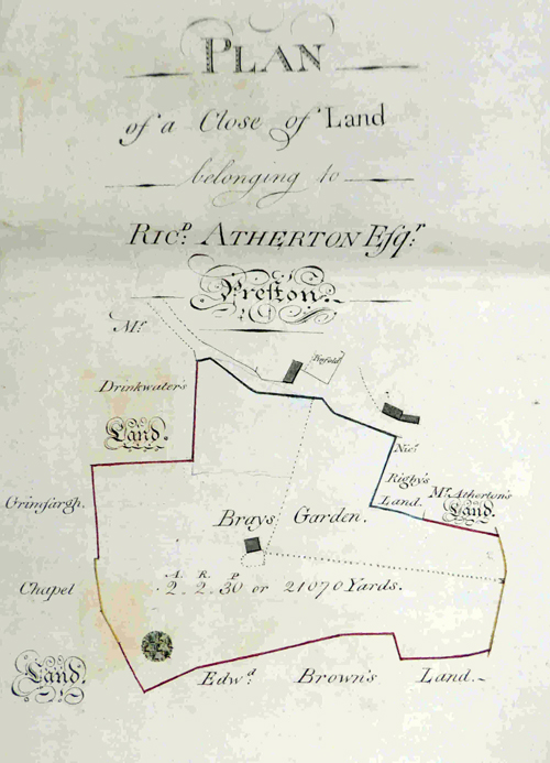 1796 plan showing location of Friargate, Preston, pinfold