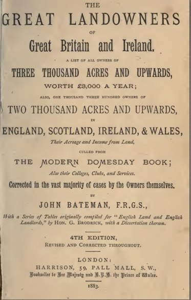 Title Page of Bateman's The Great Landowners of Great Britain and Ireland