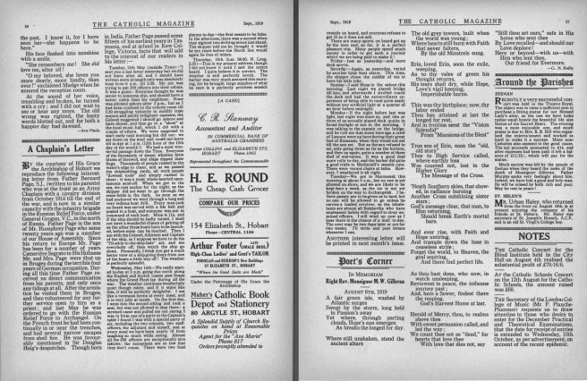 Two pages of Catholic Magazine of Tasmania 1919