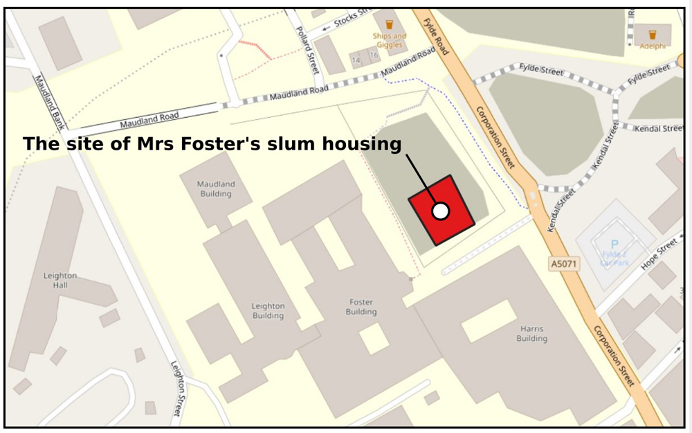 A section of the OpenStreet map of Preston showing the location of Foster Square.