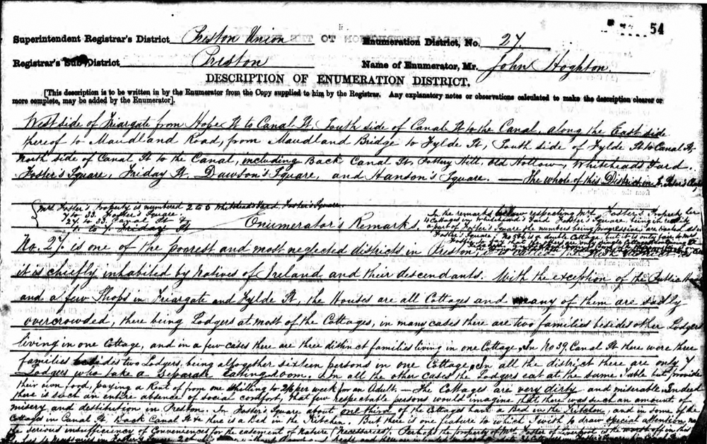 First page of Preston 1861 census return