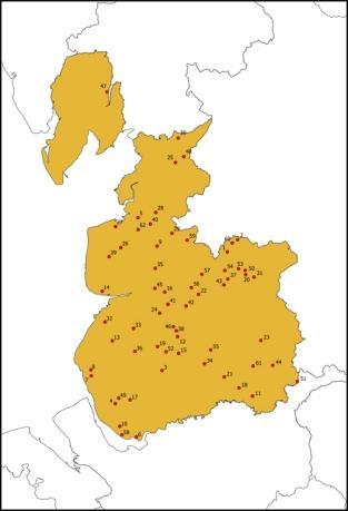 Map of old Lancashire showing principal landowners