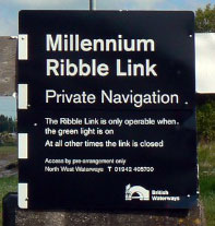 entrance board to Ribble Link canal