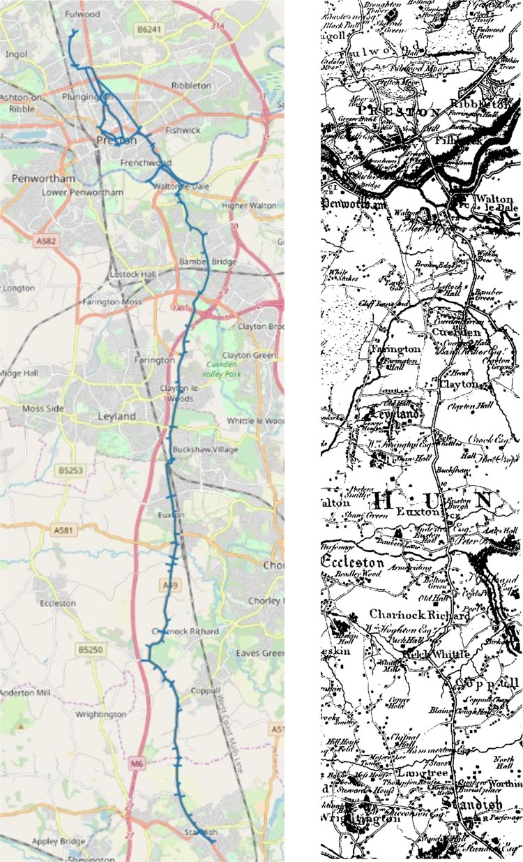 Route from Standish to Prestonin Lancashire shown on the Open Street Map and Yates 1786 map
