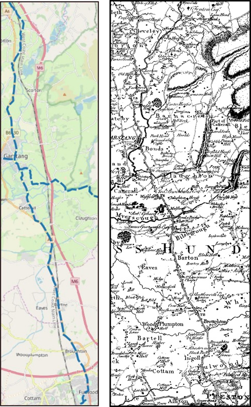 Maps of the route from Broughton to Ellel in Lancashire