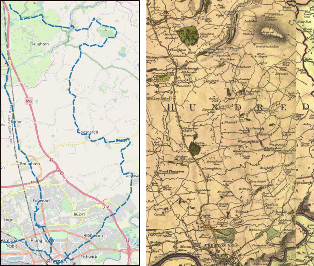 maps of the routes from Ribbleton to Inglewhite in Lancashire