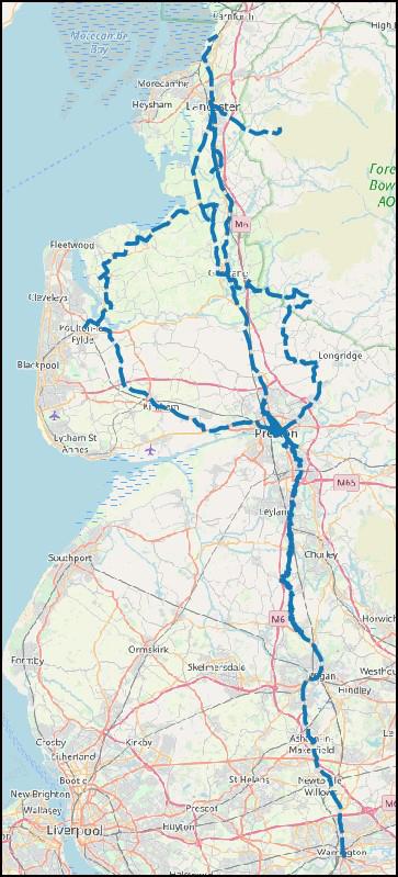 17th-century road map of Lancashire