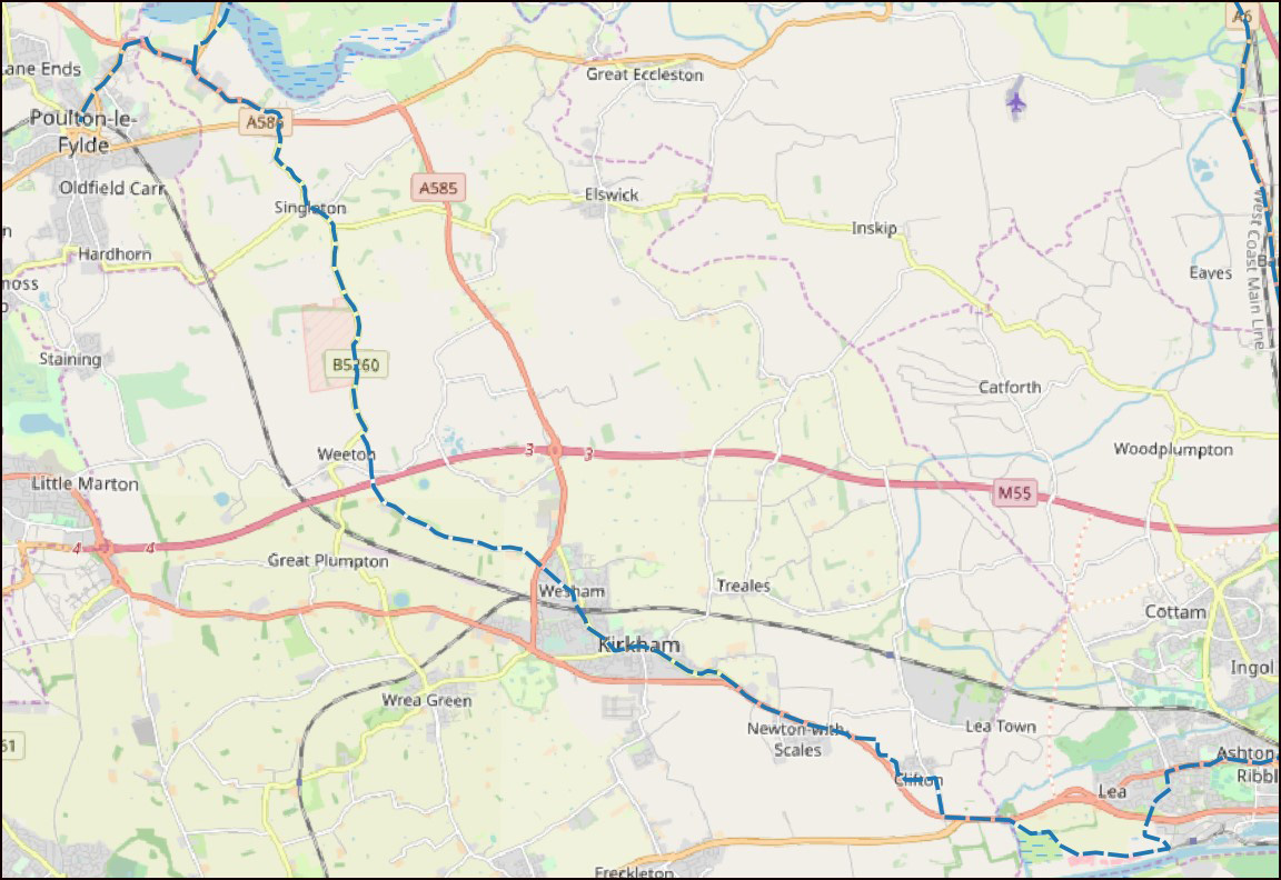 OSM map of the route from Ribbleton to Inglewhite in Lancashire