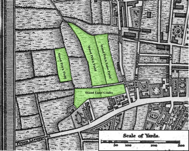 Plan of Stand Prick fields in 1824 Preston