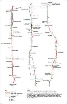 Strip map of 17th-century route from Broughton to Ellel in Lancashire