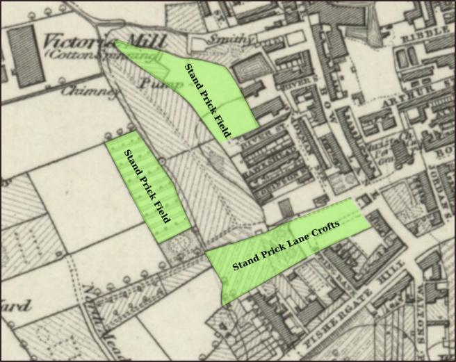 Plan of Stand Prick fields in 1840s Preston