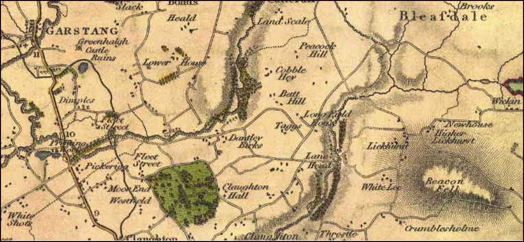 Section of Greenwood's 1818 map of Lancashire showing the River Brock and Garstang