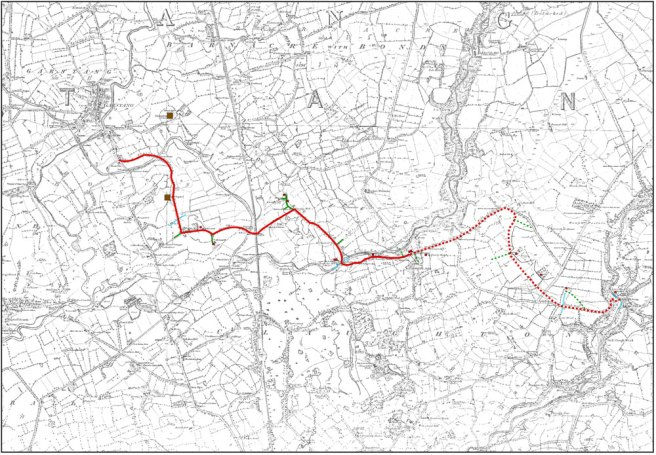 Map of a route from the River Brock to Garstang in Lancashire