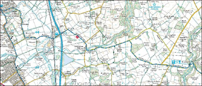 17th-century route from lea to Poulton in Lancashire superimposed on a modern map