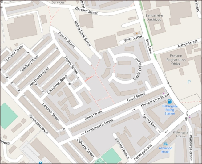 Map of the Bow Lane area of Preston