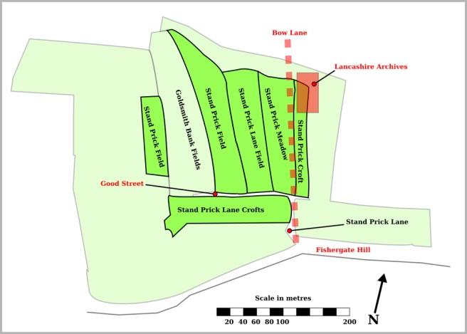 Plan of Stand Prick fields in 18th-century Preston