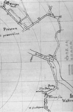 Section from 17th-century road plan of Lancashire showing Preston