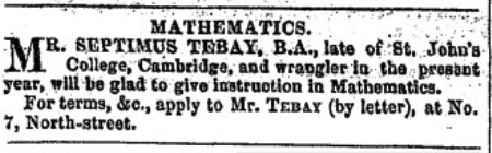 Advert in 1856 Preston Chronicle for maths lesson
