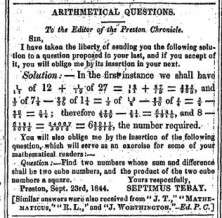 Maths problem in the preston Chronicle 1844