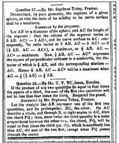 Mathematics problem in the 1845 Preston Chronicle