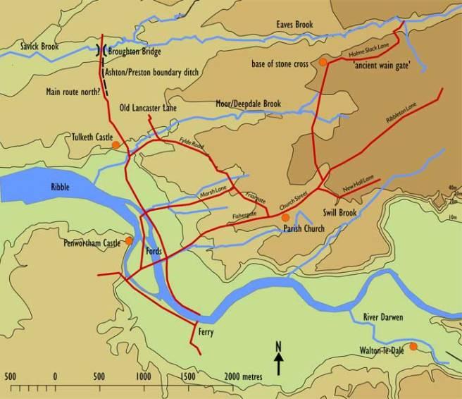 Map of Domesday Preston