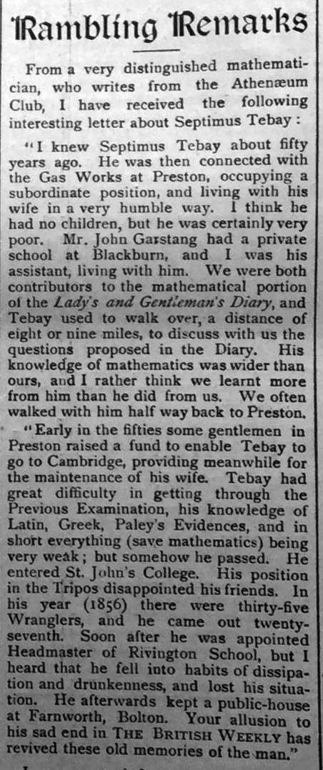 British Weekly article on Septimus Tebay