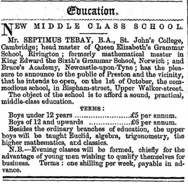 Advert in 1861 preston Chronicle for new school