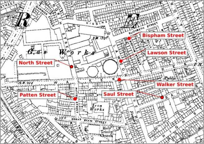 1890s Ordnance Survey map of a section of Preston