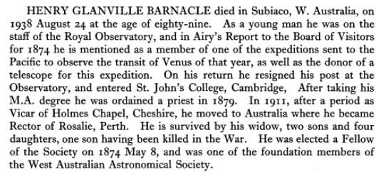 Royal Astronomical Society obituary for Henry Barnacle