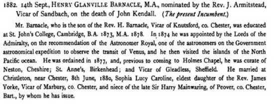 Entry for Henry Barnacle in the 'History of Sandbach@