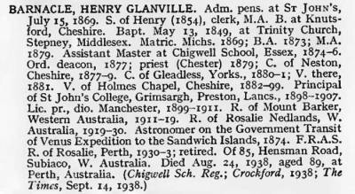 Henry barnacle's entry in the Venn list of Cambridge alumni