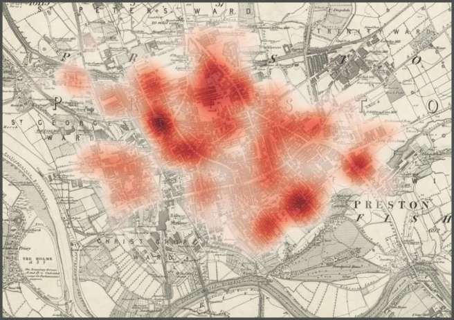 Heat map showing population distribution in 1851 Preston, lancashire