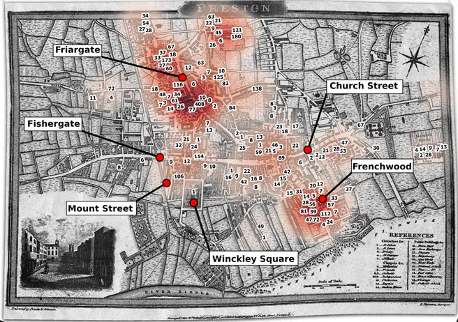 A heat map of the census of Preston Catholics in 1820