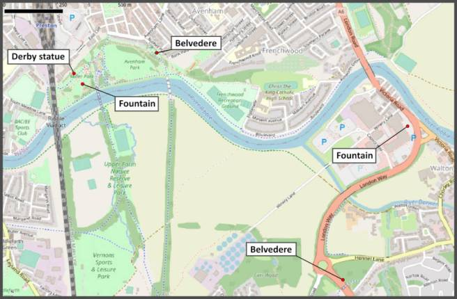 Open Street Map section showing belvederes and fountains in Preston lancashire UK