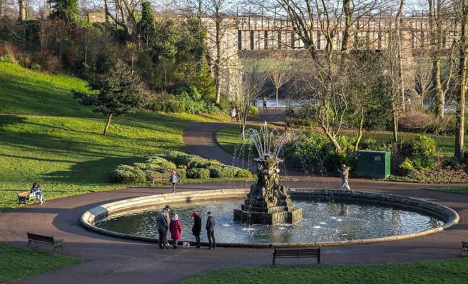 Fountain in Miller Park Preston Lancashire UK