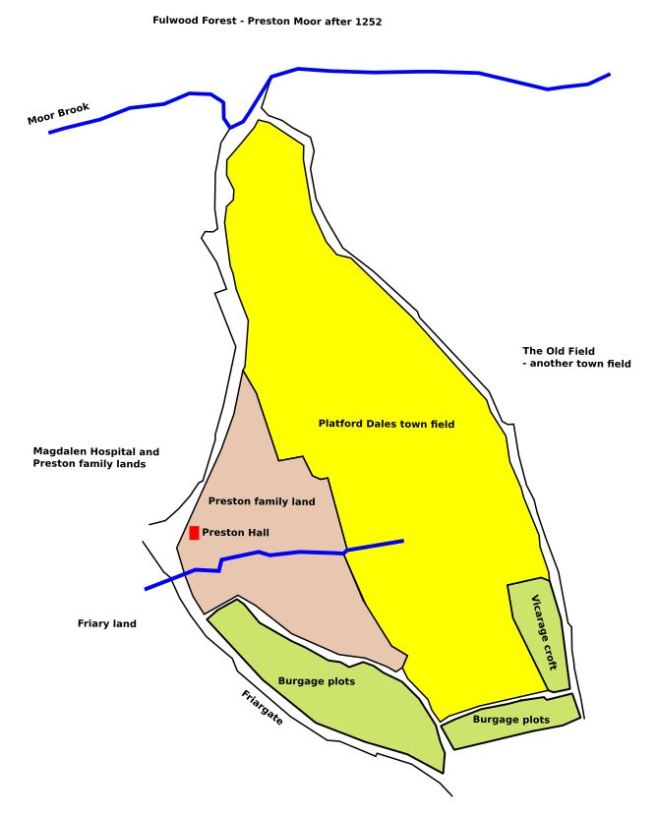 Possible extent of the medieval Platford Dales town field in Preston Lancashire, with the suggested incursion by the Preston family