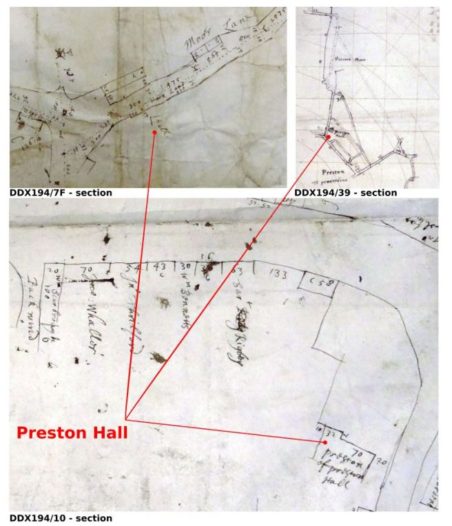 Sections of the 17th-century Towneley Hall plans of Preston, Lancashire